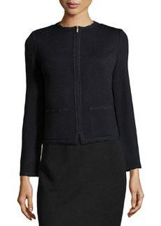 St. John Scallop-Trim Crewneck Jacket, Onyx