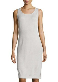St. John Scoop-Neck Knit Tank Dress, Platinum