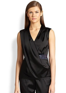 St. John Sequin-Trimmed Draped Satin Top