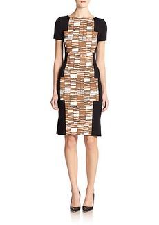 St. John Serrated-Stripe Jacquard Dress