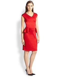 St. John Shimmer Milano Knit Peplum Dress