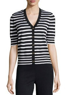 St. John Short-Sleeve Striped Sweater, Onyx/Bright White