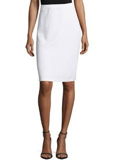 St. John Signature Santana Knit Pencil Skirt, Bright White