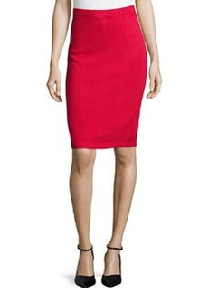 St. John Signature Santana Knit Pencil Skirt, Crimson