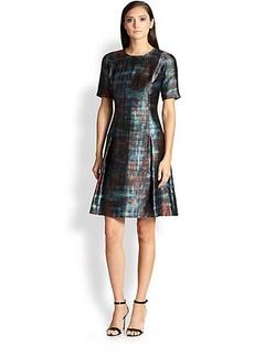 St. John Silk & Wool Painterly Plaid Dress