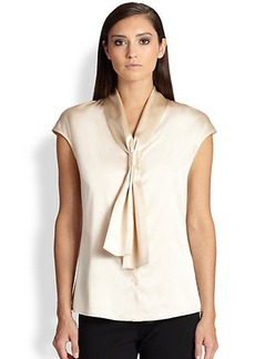 St. John Silk Charmeuse Cap-Sleeve Top