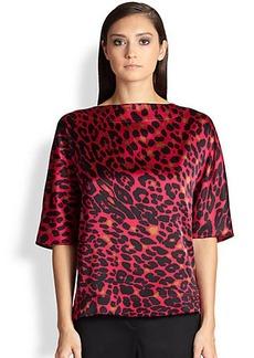 St. John Silk Leopard Print Blouse