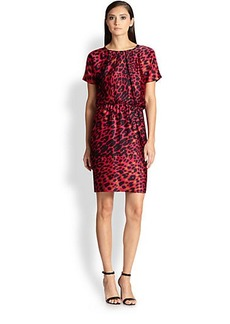 St. John Silk Leopard Print Dress