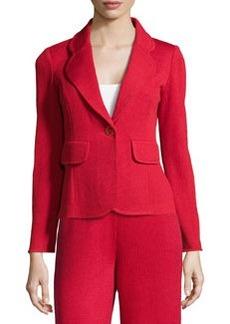 St. John Single-Button Knit Jacket, Ruby