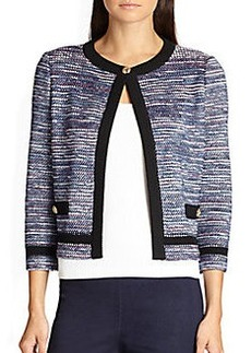 St. John Spliced Cord Tweed Cardigan
