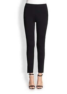 St. John Stretch Knit & Leather Leggings
