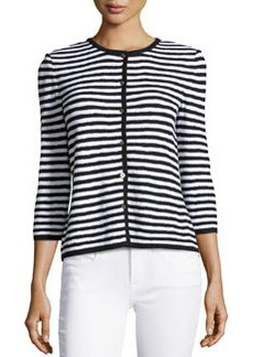 St. John Striped 3/4-Sleeve Cardigan, Black/Bright White