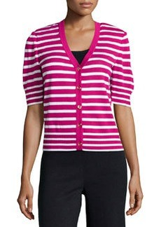 St. John Striped Short-Sleeve Cardigan