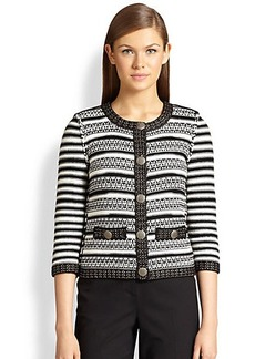 St. John Striped Three-Quarter Sleeve Jacket