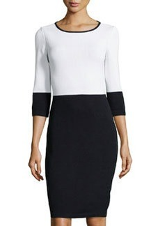 St. John Three-Quarter Sleeve Colorblock Dress, Bright White/Onyx