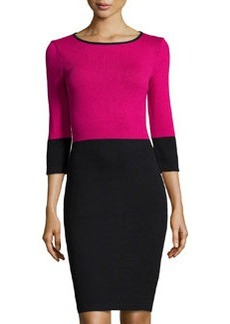 St. John Three-Quarter Sleeve Colorblock Dress, Cosmo/Onyx