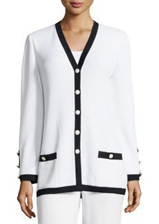 St. John Two-Tone Boyfriend Cardigan, Bright White/Onyx