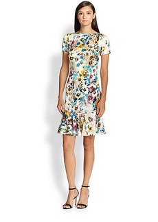 St. John Watercolor-Print Silk Charmeuse Dress