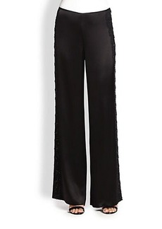 St. John Wide-Leg Beaded Liquid Satin Pants