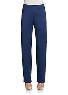 St. John Wool Straight-Leg Pants/Blue