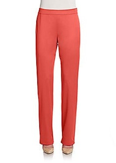 St. John Wool Straight-Leg Pants/Coral