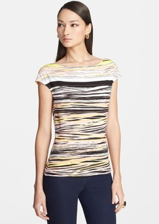 St. John Yellow Label Cap Sleeve Abstract Stripe Jersey Tee