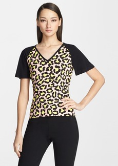 St. John Yellow Label Flutter Sleeve Cheetah Print Jersey Tee