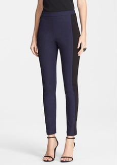 St. John Yellow Label Stretch Denim Leggings with Ponte Side Panels