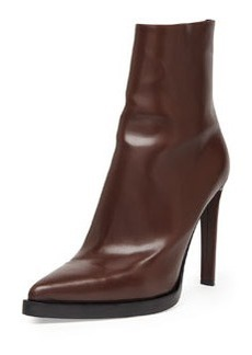 Faux-Leather Point-Toe Ankle Boot, Brown   Faux-Leather Point-Toe Ankle Boot, Brown
