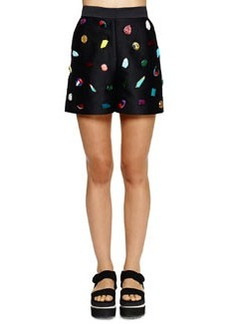 Jeweled Relaxed Sateen Shorts   Jeweled Relaxed Sateen Shorts