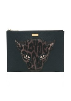 Stella McCartney black and brown vegan leather and fur leopard detail clutch