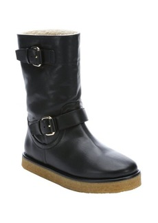 Stella McCartney black faux leather 'Harper' lined boots