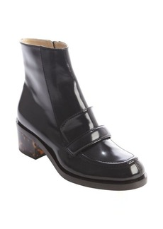 Stella McCartney black faux patent 'Mary' loafer boots