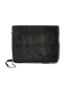 Stella McCartney black faux snakeskin velour 'Falabella' shoulder bag