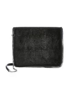 Stella McCartney black faux snakeskin velour 'Falabella' shoulder bag