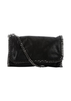 Stella McCartney black faux suede 'Falabella' braided chain detail shoulder bag