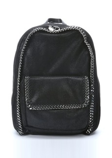 Stella McCartney black metallic coated backpack with chain link trim