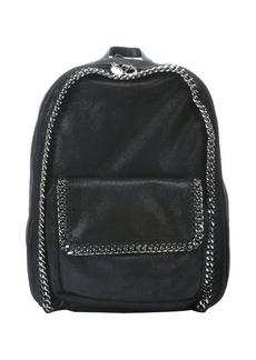 Stella McCartney black metallic coated backpack with chain link trim