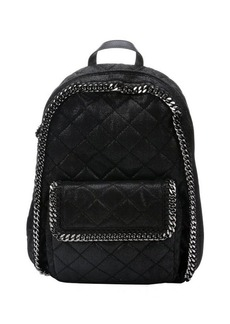 Stella McCartney black metallic coated quilted backpack with chain link trim