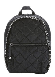 Stella McCartney black quilted faux leather mini backpack
