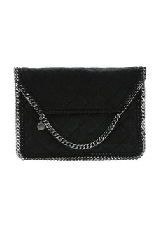 Stella McCartney black quilted faux suede 'Falabella' foldover clutch