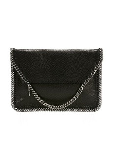 Stella McCartney black snake embossed faux leather 'Falabella' foldover clutch