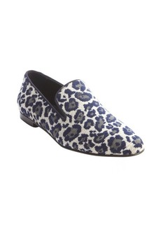 Stella McCartney blue and grey faux 'leopard print' slip on loafers