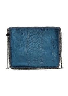 Stella McCartney blue faux snakeskin velour 'Falabella' zip top shoulder bag