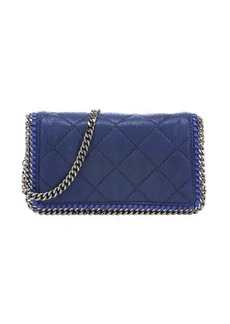 Stella McCartney blue quilted faux suede 'Falabella' chain shoulder bag