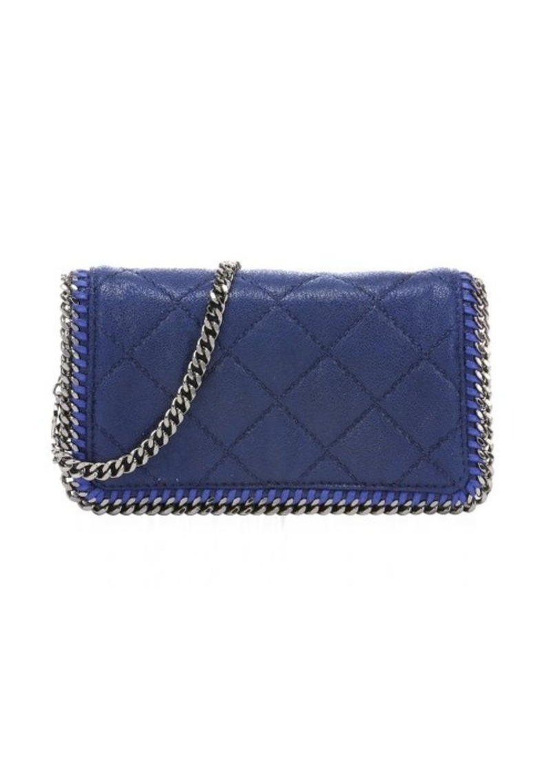 stella mccartney stella mccartney blue quilted faux suede 39 falabella 39 chain shoulder bag sizes. Black Bedroom Furniture Sets. Home Design Ideas