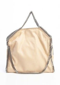 Stella McCartney camel faux suede embroidered chain tote