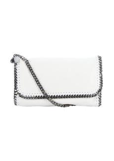 Stella McCartney chalk white faux suede 'Falabella' braided chain detail shoulder bag