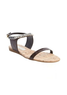 Stella McCartney coffee faux leather jeweled accent sandals