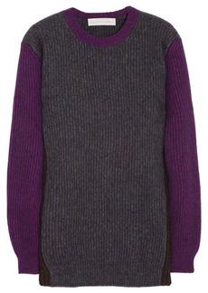 Stella McCartney Color-block ribbed-knit wool-blend sweater